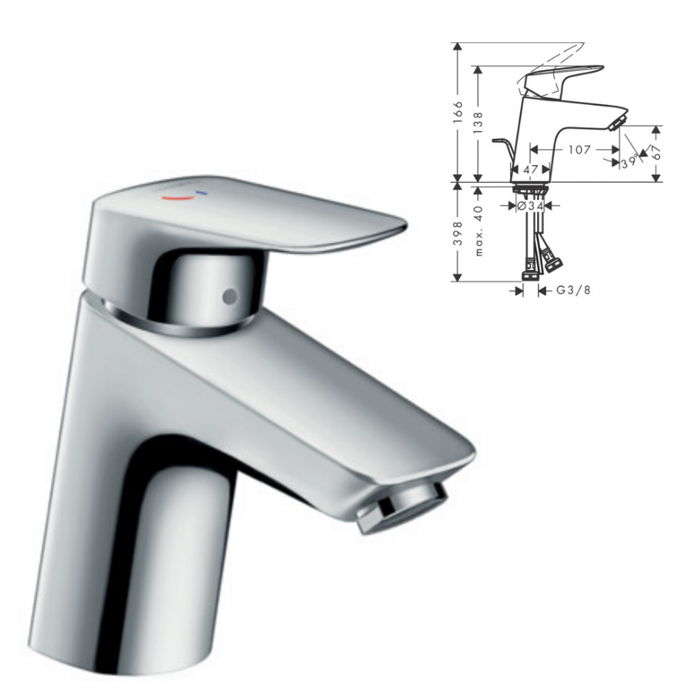 Hansgrohe Single Lever Basin Mixer 70 CoolStart With Pop-Up Waste - Model 71072000